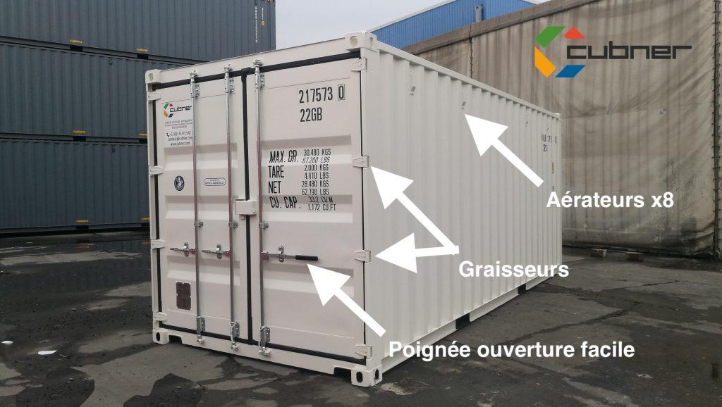 Avantages container maritime stockage Cubner 20 pieds premier voyage